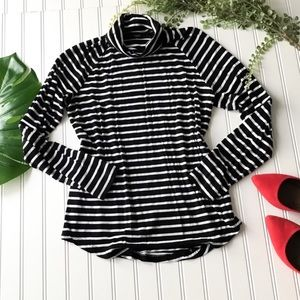 Old Navy black white stripe turtleneck fitted top